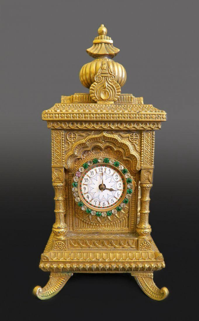 Beautiful Ottoman Style Bronze Clock With Jeweled Dial