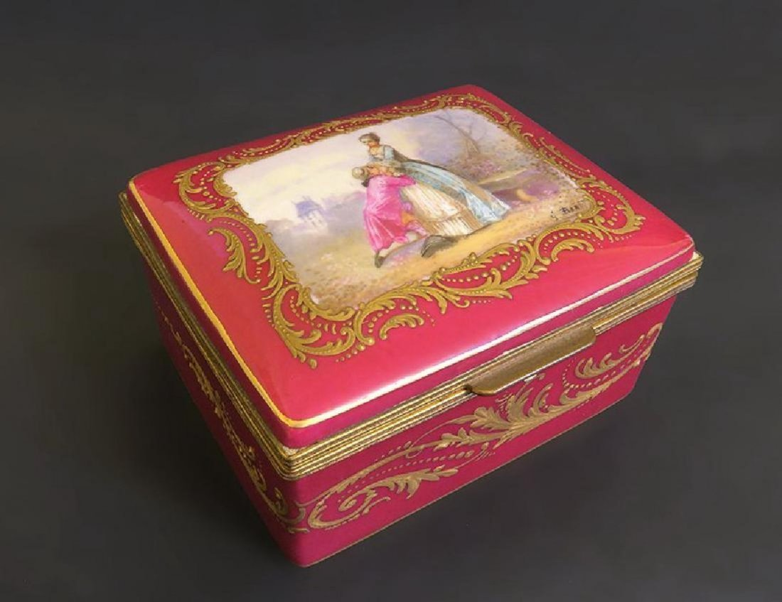 French Sevres Porcelain and Bronze Hinged Box
