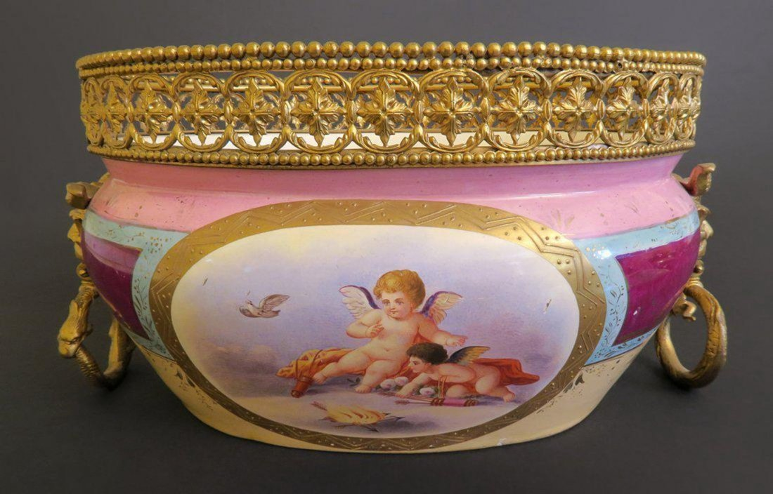 French Pink Color Porcelain With Bronze Rim and Handles