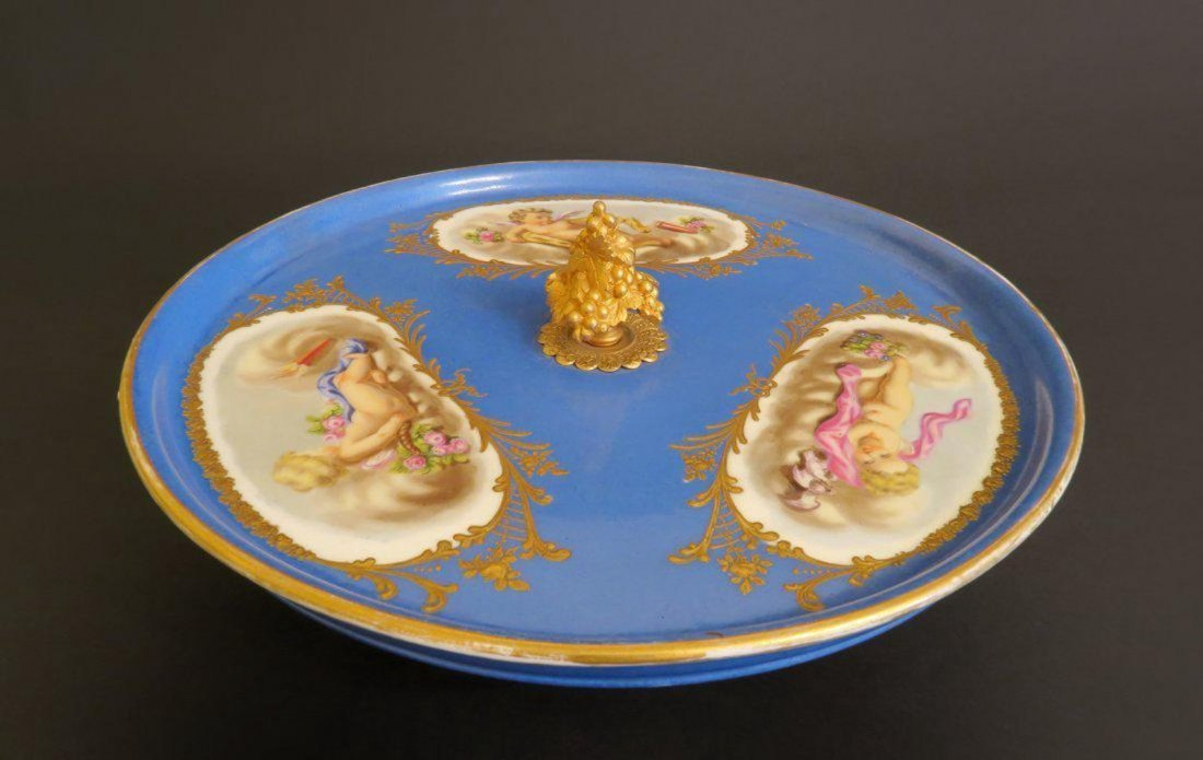 French Sevres Style Porcelain Mounted Bronze Stand
