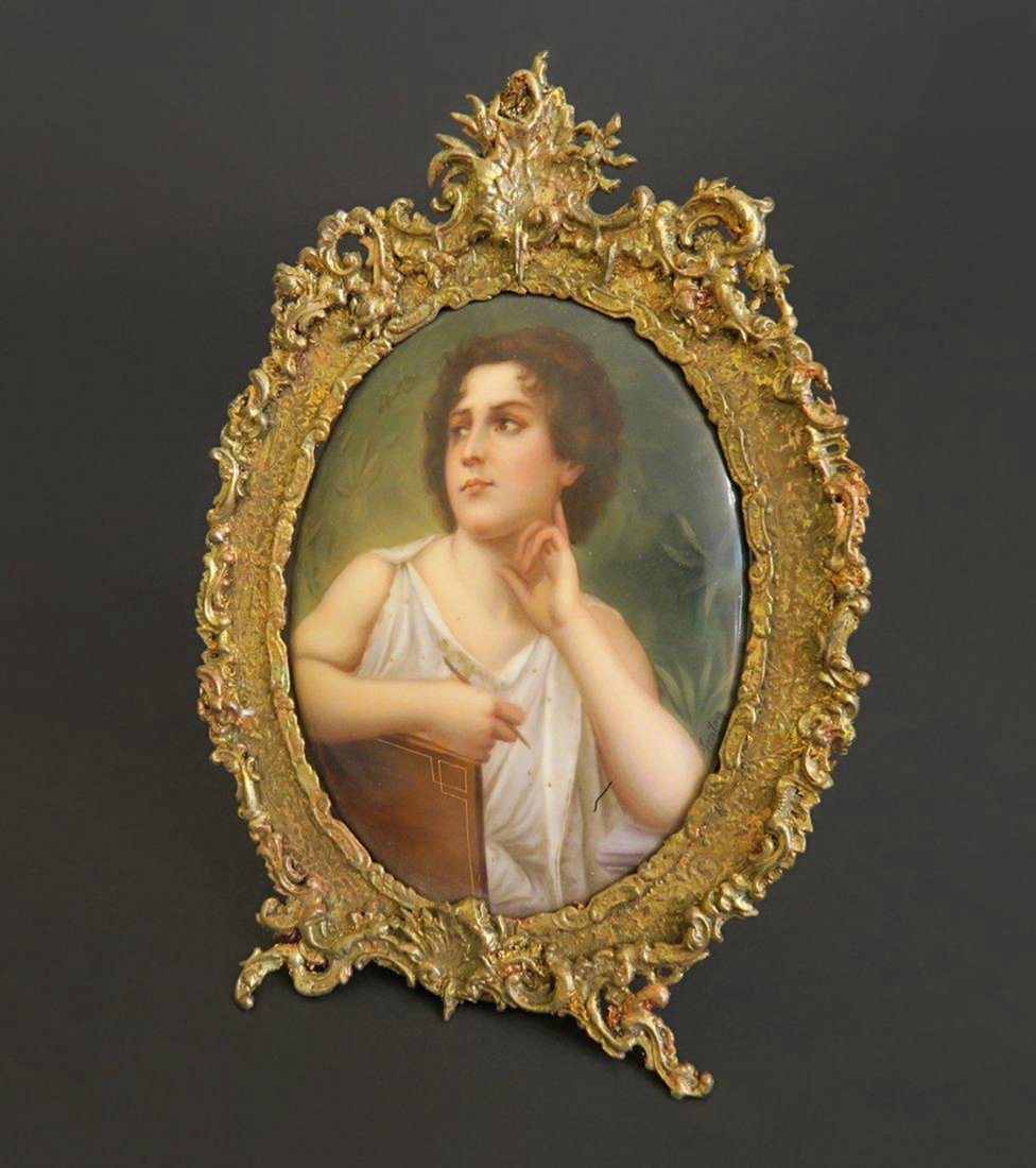 German Porcelain With Gilt Metal Picture Frame