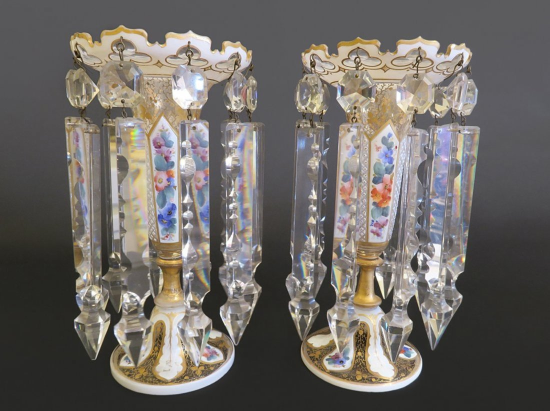 Pair Of Bohemian Overlay Gilt Decorated Glass Lusters