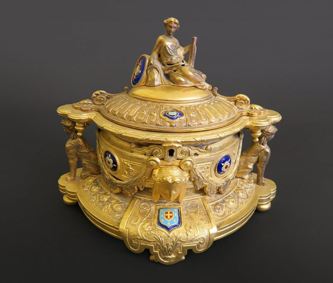 Beautiful French Figural Gilt Metal Hinged Box