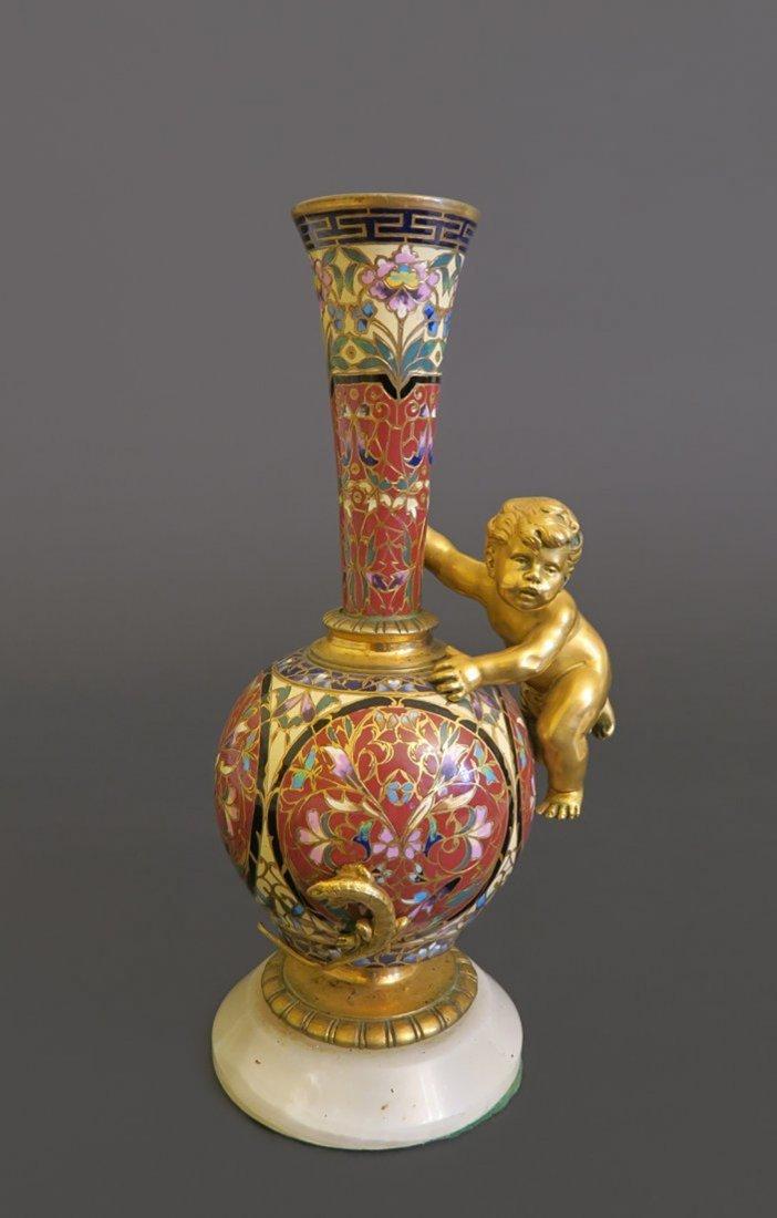 19th C. French Bronze & Champleve Enamel Figural Vase