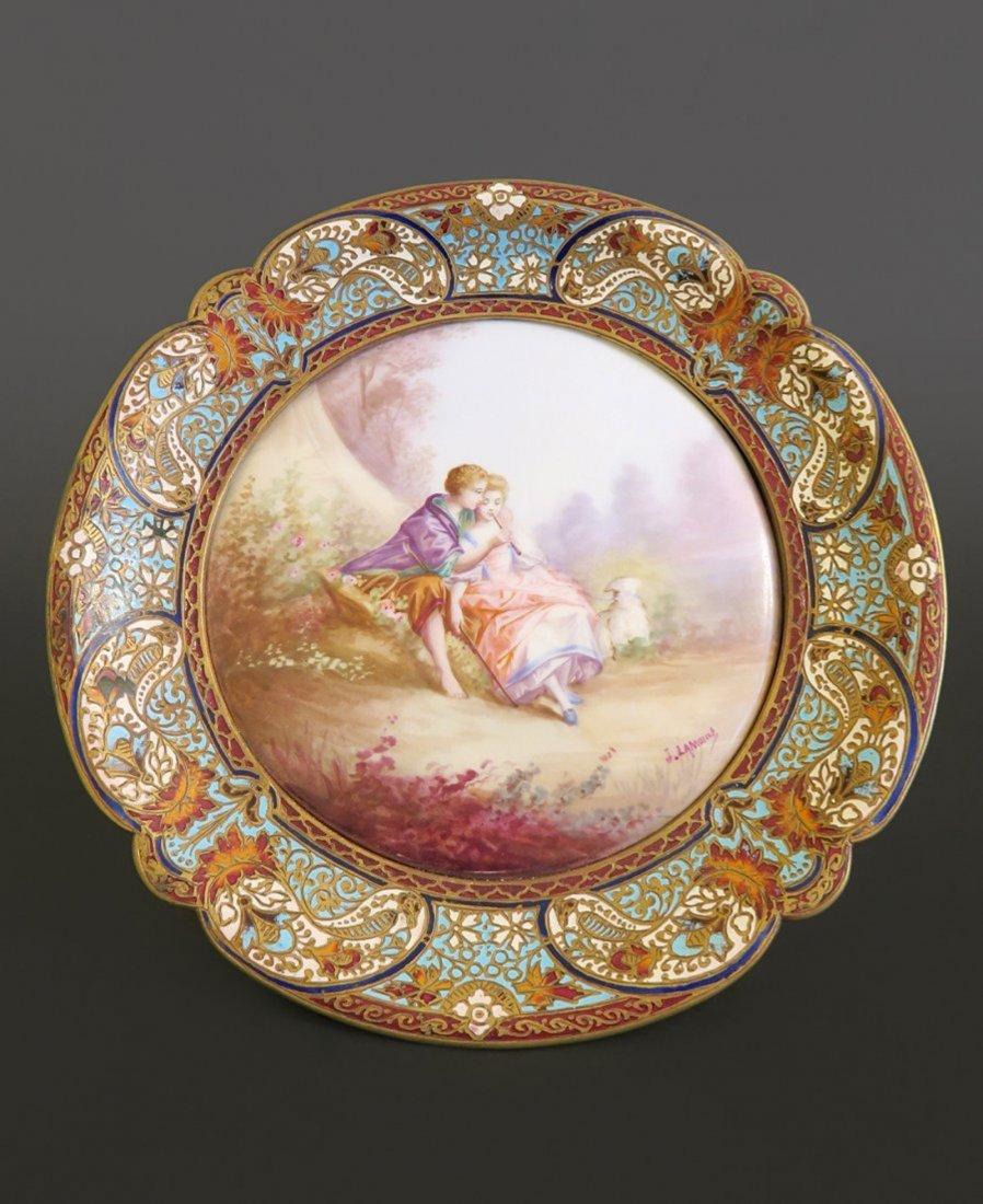exceptional French Champleve Enamel & Sevres Porcelain