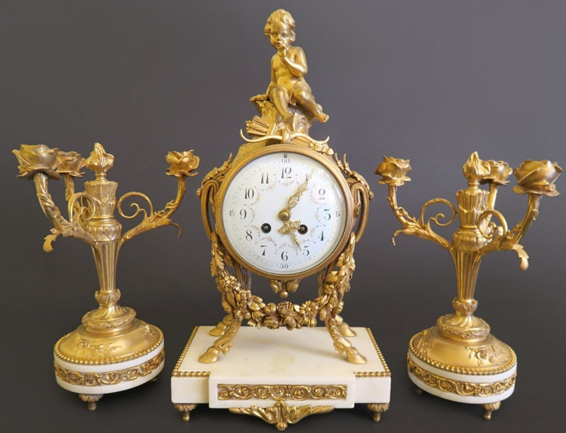 French Marble & Figural Bronze Clock Set