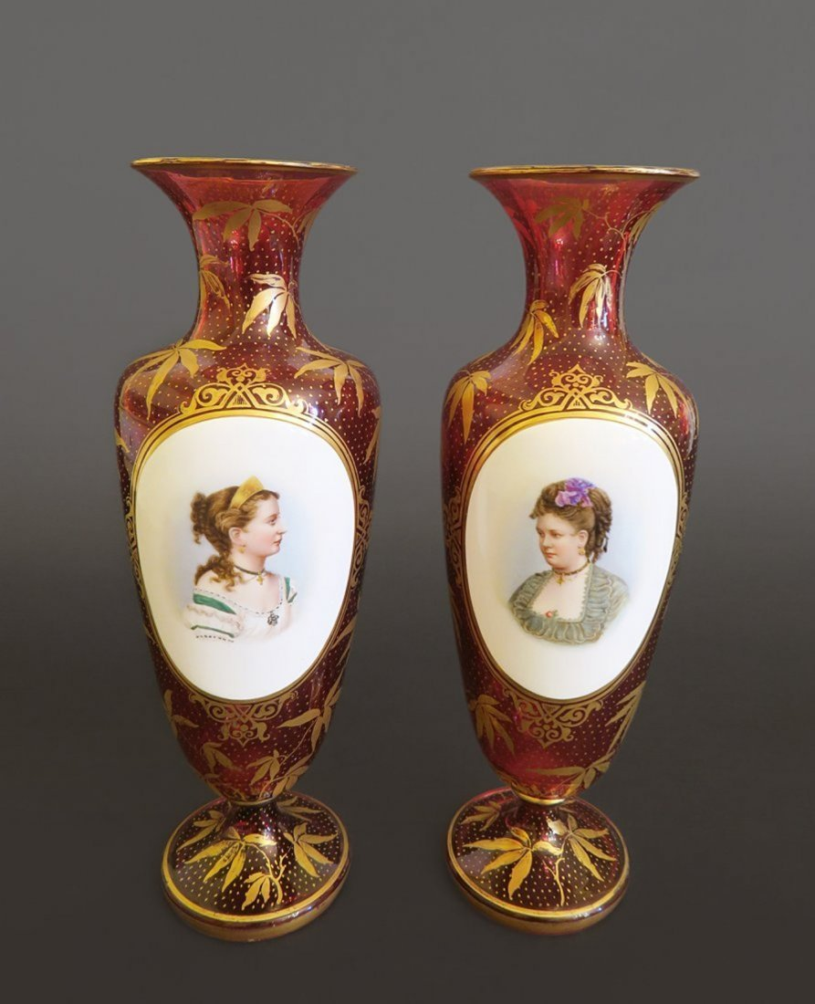 A Pair of Bohemian Cranberry Glass Portrait Vases