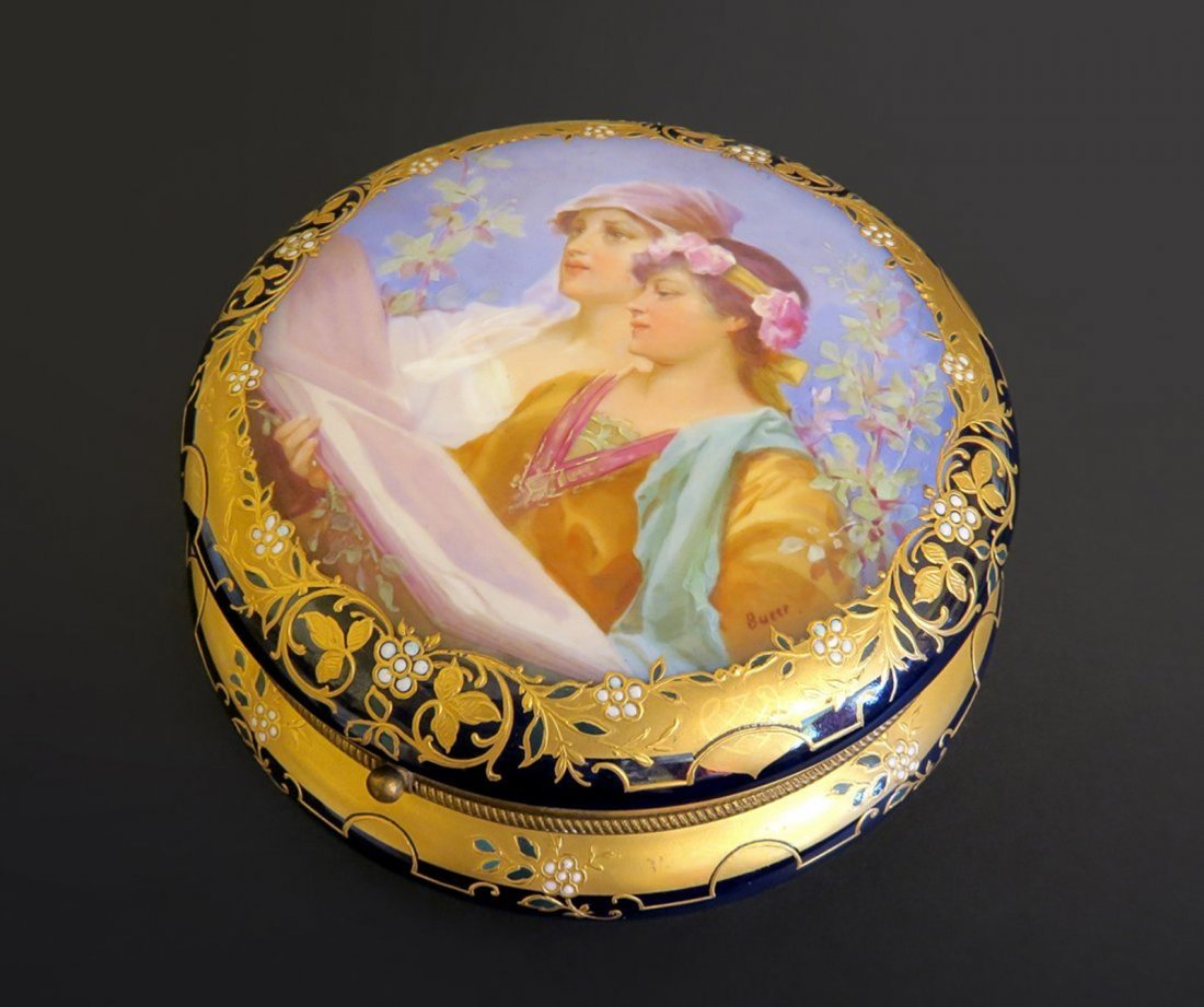 Beautiful Signed Royal Vienna Porcelain Dresser Box
