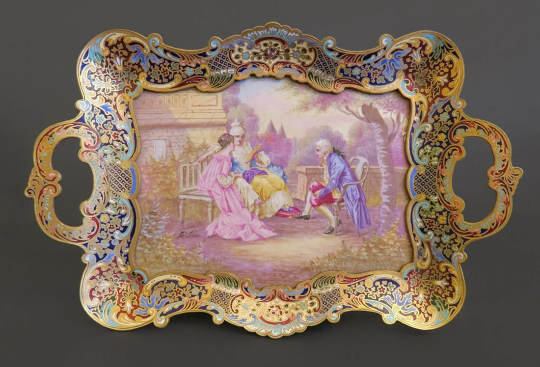 Stunning Sevres Porcelain and Champleve Enamel Tray