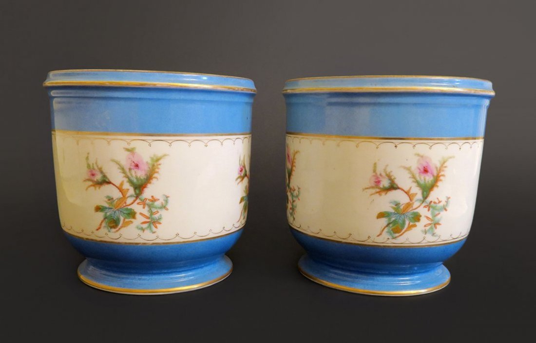 Pair of French Sevres Style Porcelain Jardiniere
