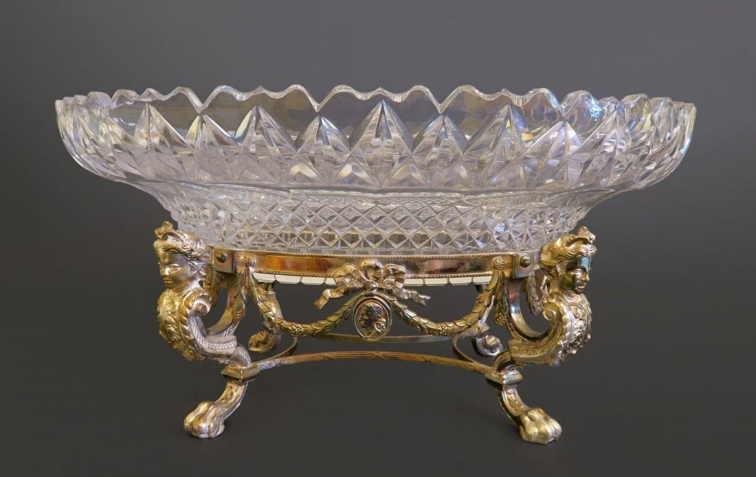 Baccarat Cut Crystal Centerpiece Mounted On Silverplate