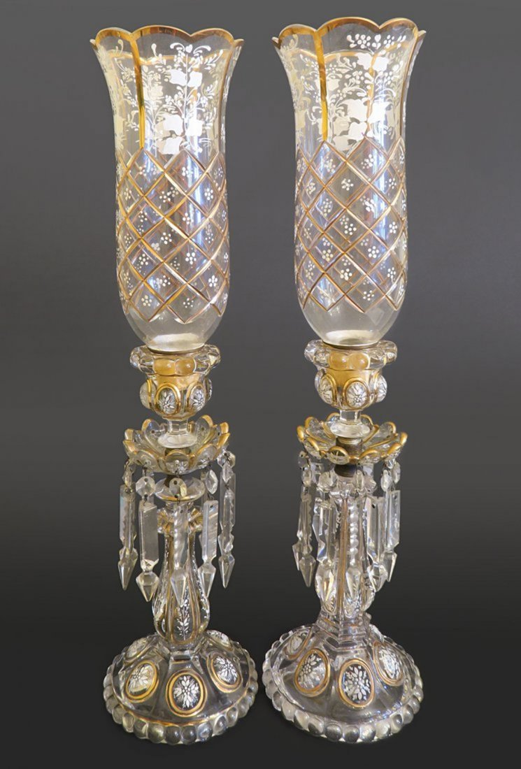 Pair Of Baccarat Crystal Hurricane Lamps