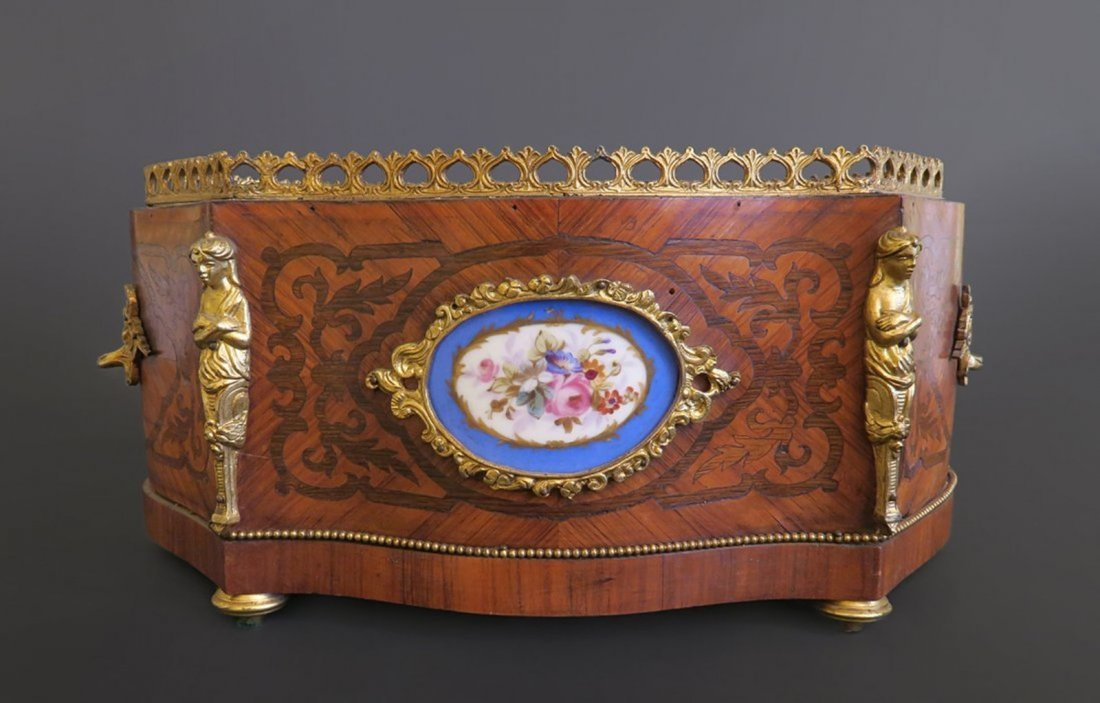 19th French Inlaid Wood& Bronze Jardinier