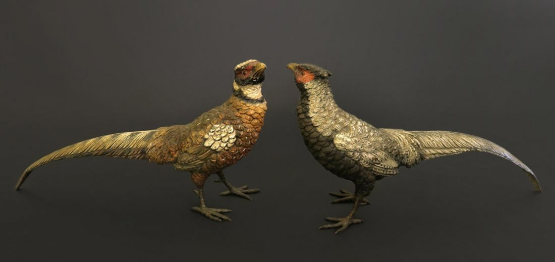 Monumental Pair Of Viennese Enamel On Bronze Bird