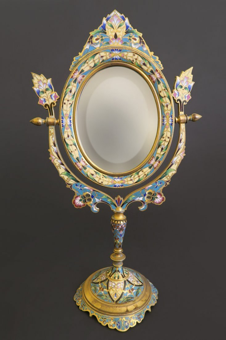 19th French Champleve Enamel and Bronze Table Mirror
