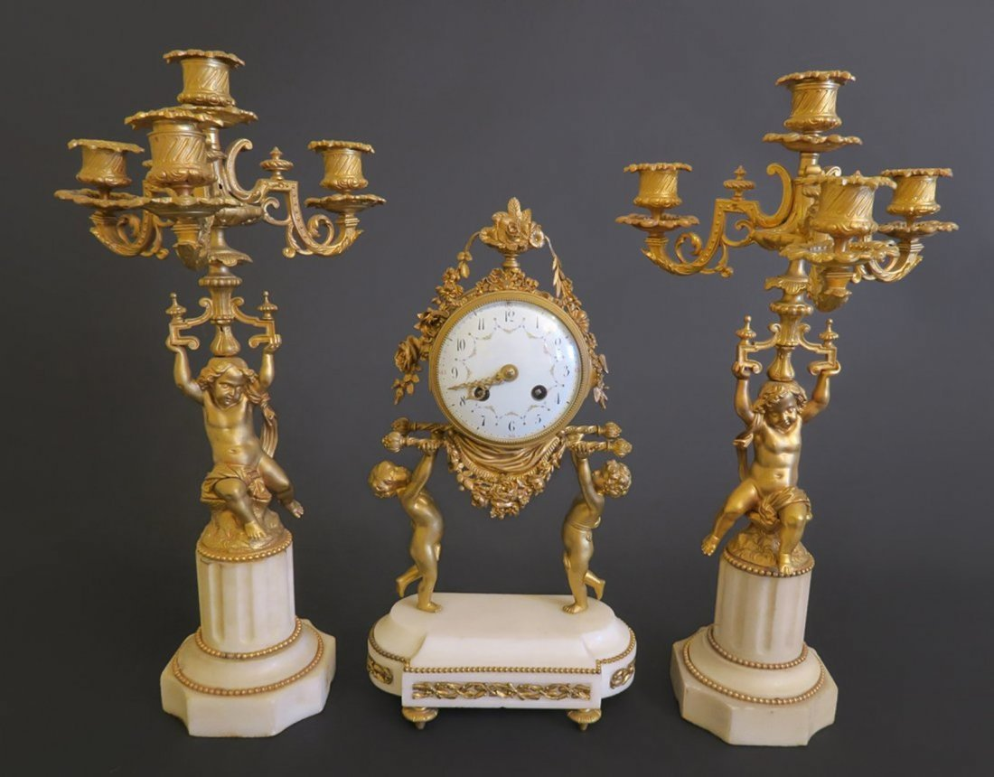 French Figural Gilt Bronze And White Marble Clock Set