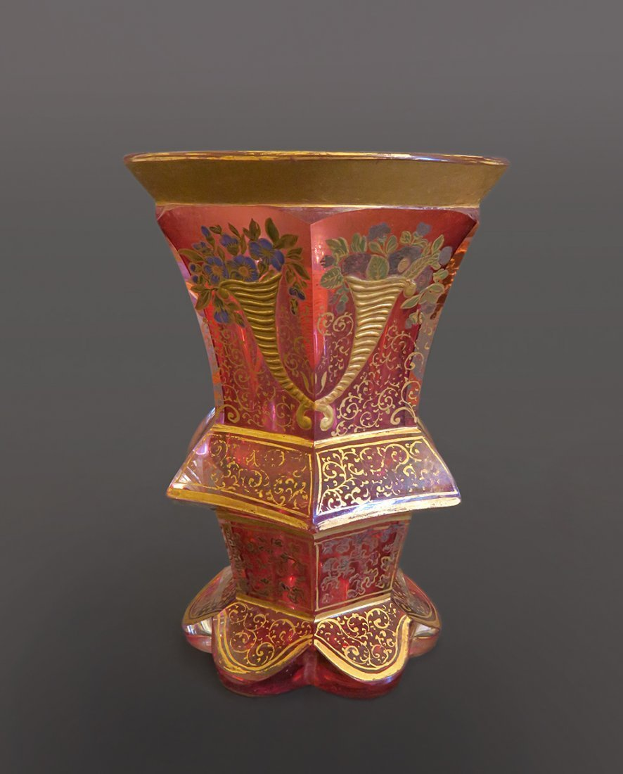 19th Bohemian Cranberry Color Cup With Gold Decoration