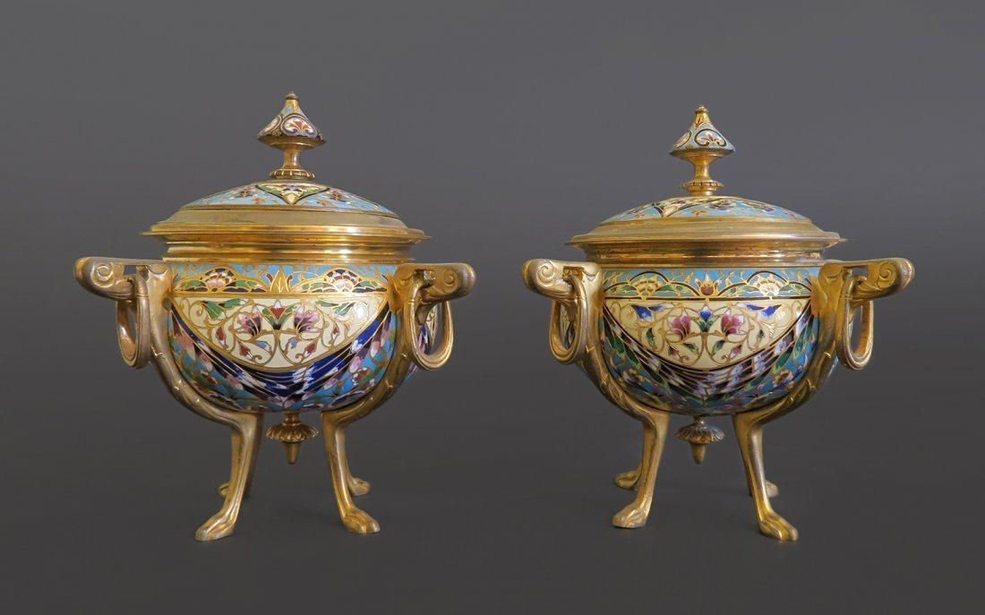 pair of Napoleon III Gilt Bronze & Champleve Casket