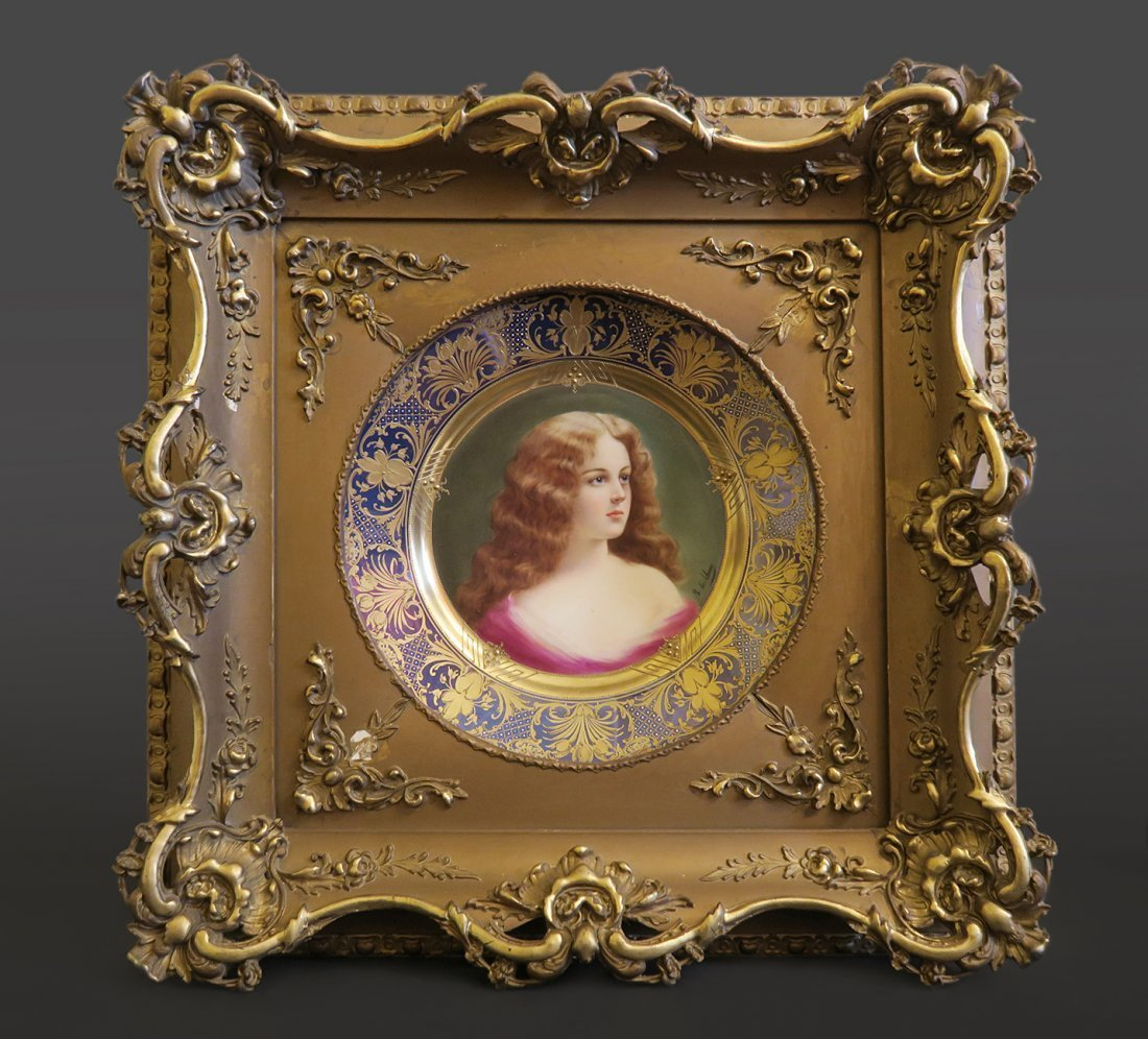 19th C. Framed Royal Vienna Porcelain Plate