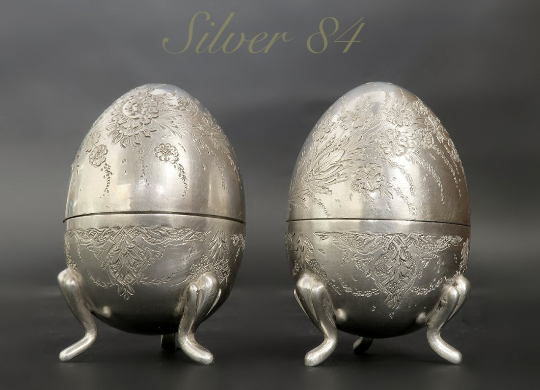 A Pair of Persian 84 Silver Egg Shape Salt Shaker