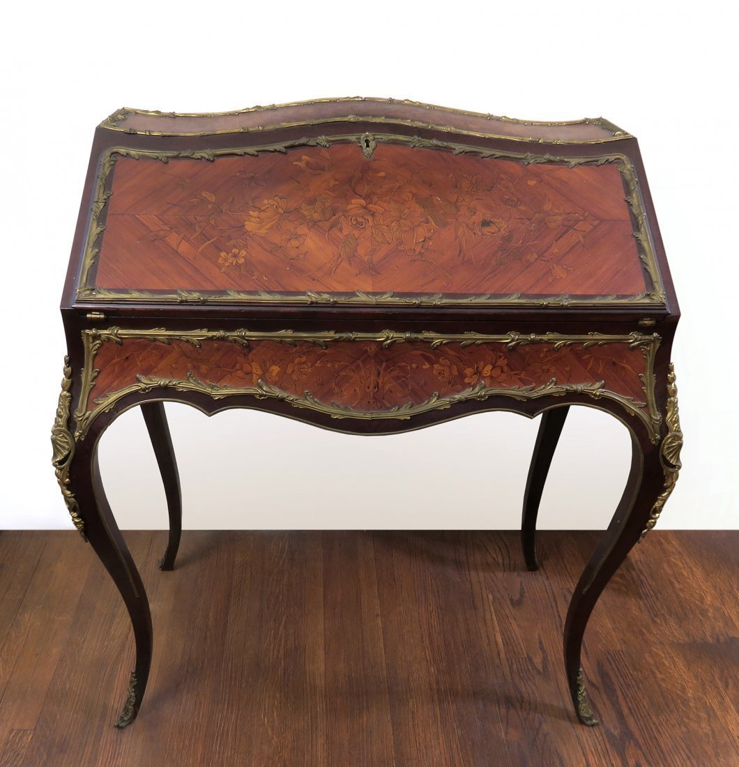 19th C. French gilt Bronze Mounted Writing Desk
