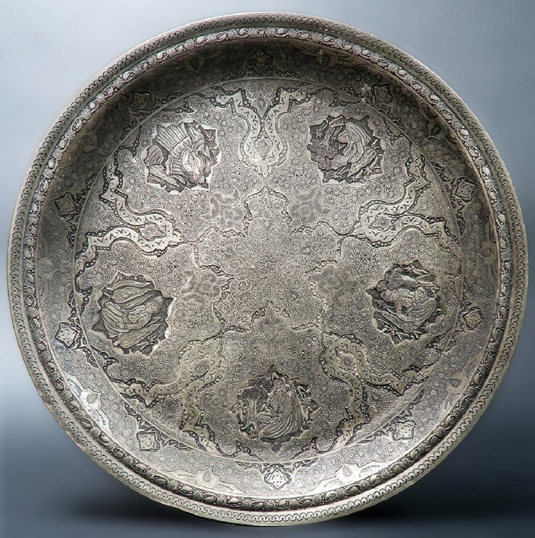 "Persian Engraved (Ghalam-zani) Signed ""Amir Saee"" Tray"