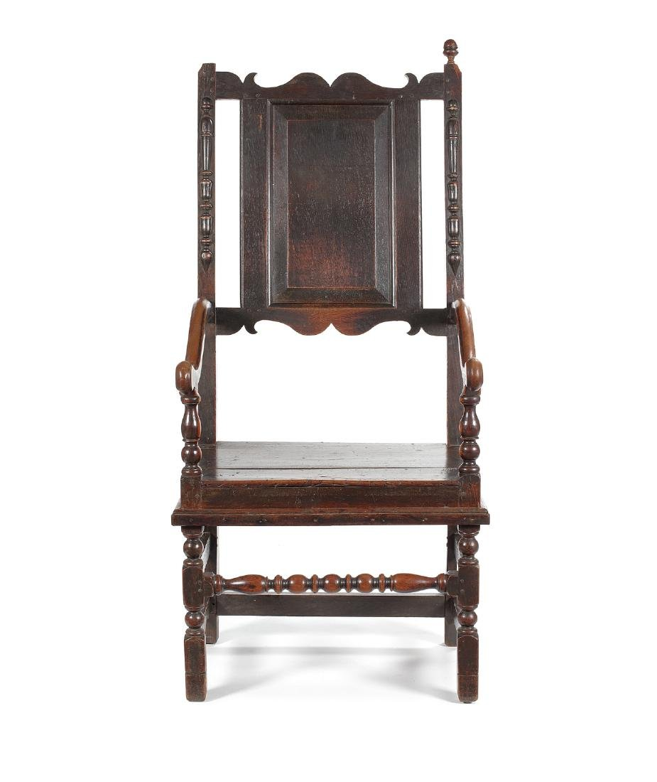 A William & Mary oak 'Master's' open armchair