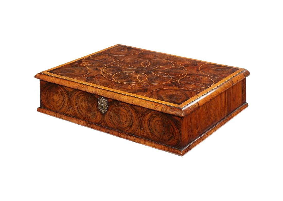 A large William & Mary walnut oyster veneered lace box