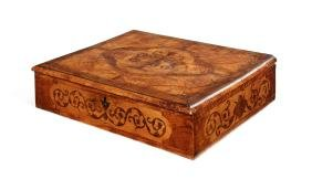 A William & Mary walnut and sycamore marquetry lace box