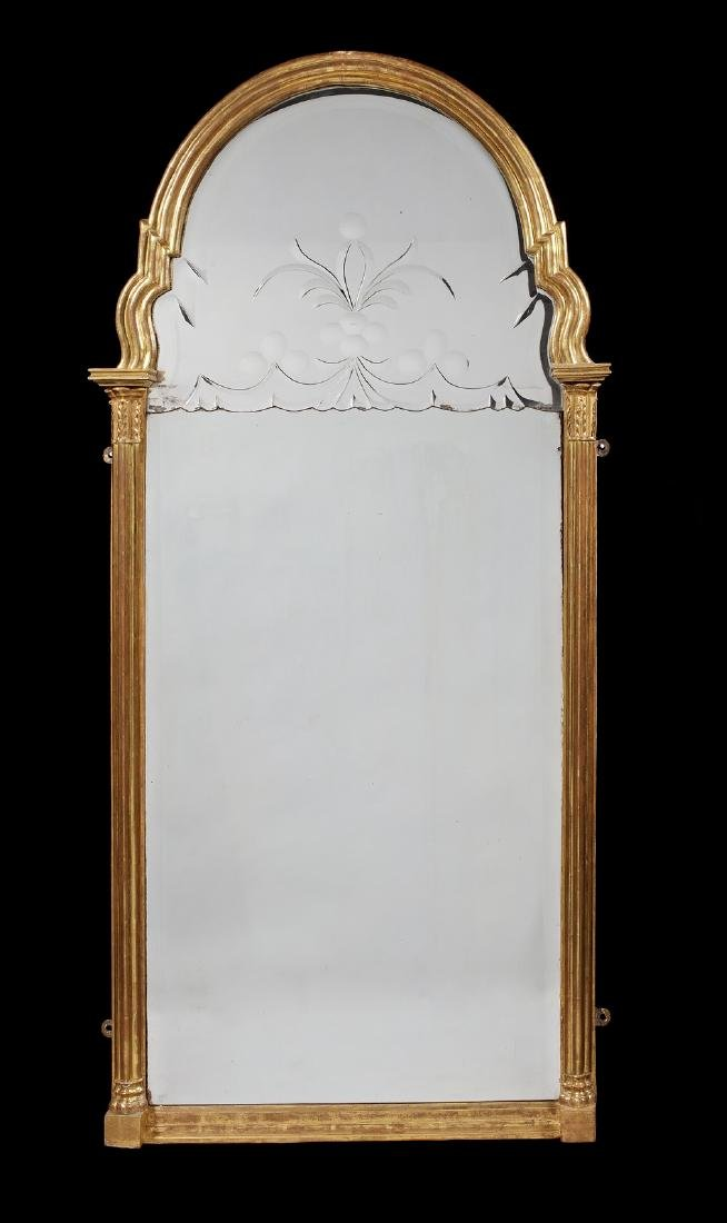 A Queen Anne carved giltwood pier mirror