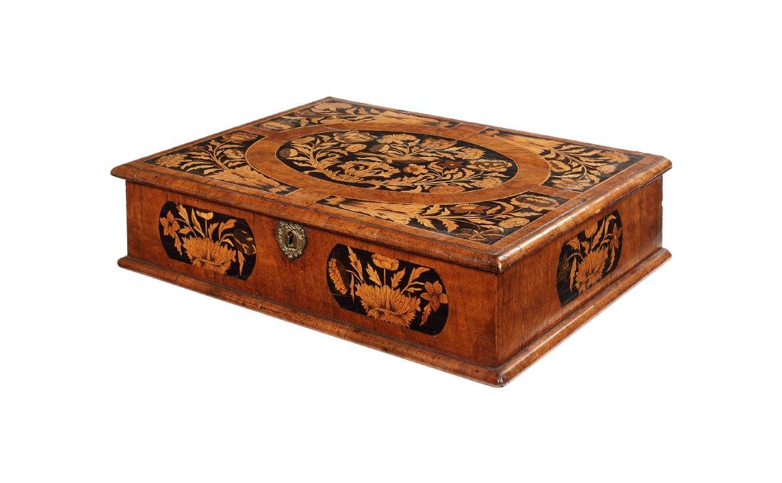 A large William &  Mary walnut & marquetry lace box