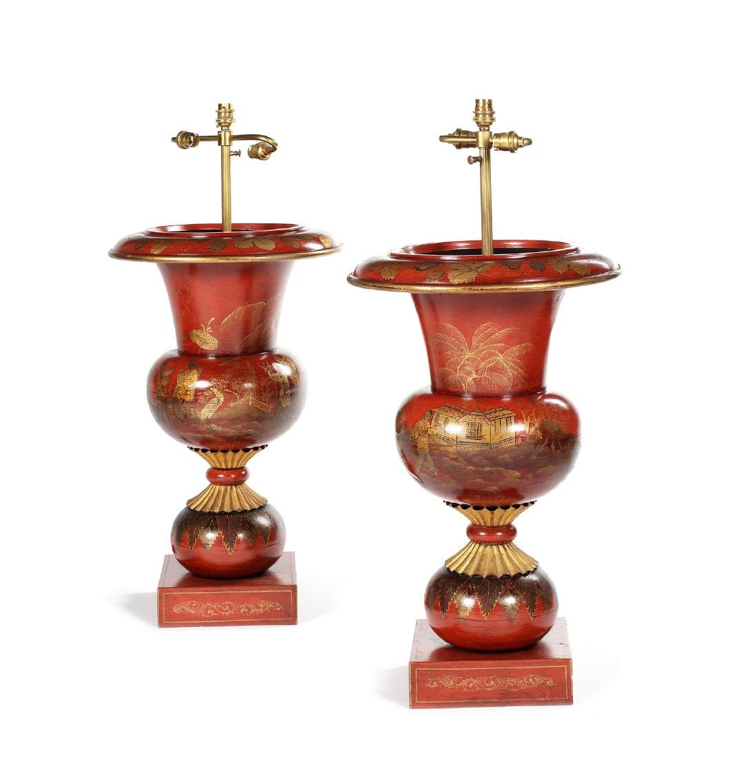 A large pair of tôleware red chinoiserie lamp bases