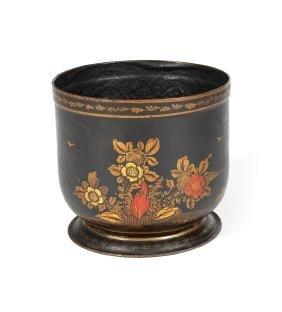 A rare George II pâpier-maché black & gilt cache-pot