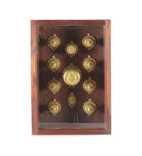 A set of 19th century gilt bronze door furniture