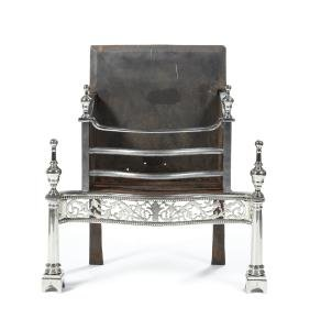 A George III paktong and burnished steel fire-grate