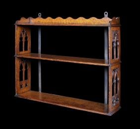A pair of Victorian carved oak 3-tier hanging shelves