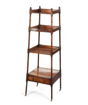 A Regency mahogany four-tier tapering whatnot