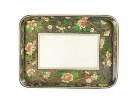 A Regency white & painted papier-mâché tray