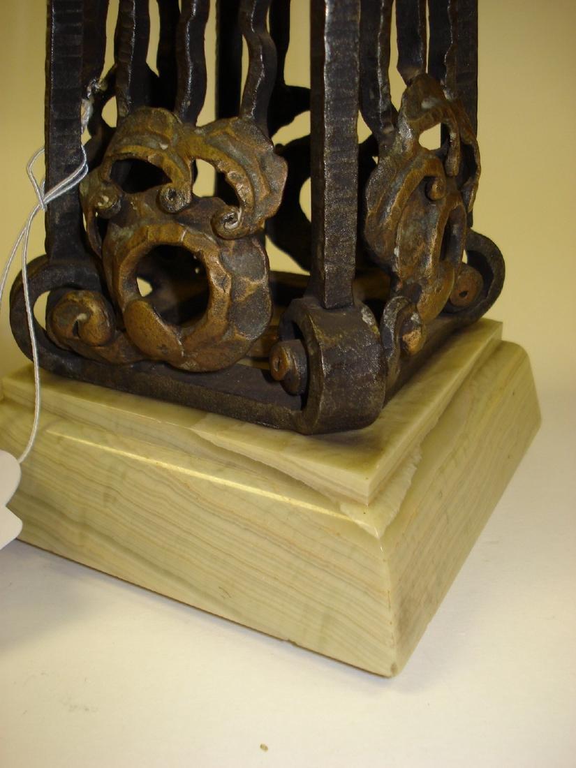 An Art Deco onyx wrought iron & gilded clock garniture - 7