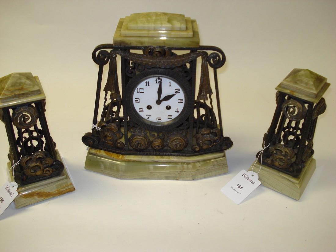 An Art Deco onyx wrought iron & gilded clock garniture - 2