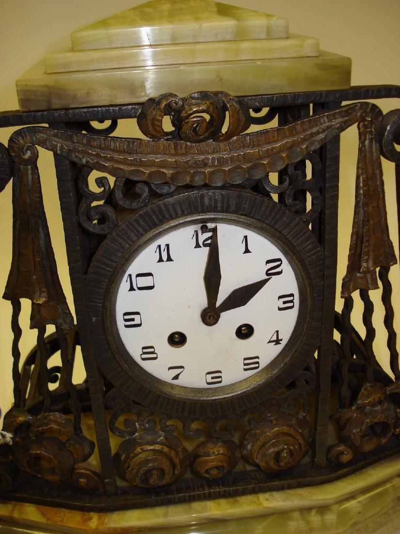 An Art Deco onyx wrought iron & gilded clock garniture - 3