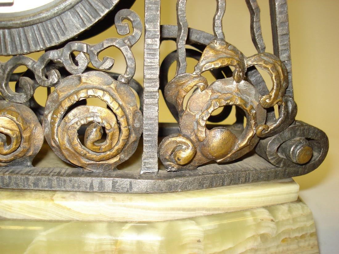 An Art Deco onyx wrought iron & gilded clock garniture - 5