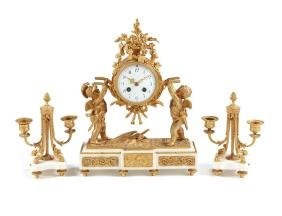 A Louis XVI style white marble & bronze clock garniture