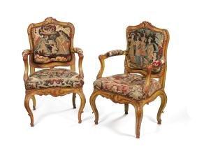 A pair late 18th c. S.German/ N.Italian fauteuils