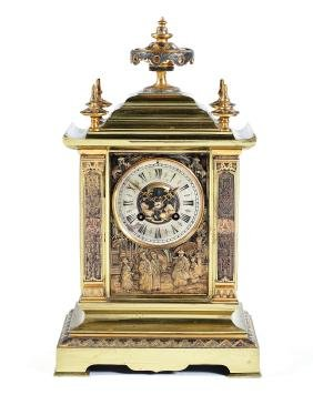 A late 19th century French gilt bronze mantel clock