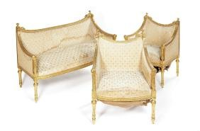 A late 19th/early 20th c. carved giltwood salon suite