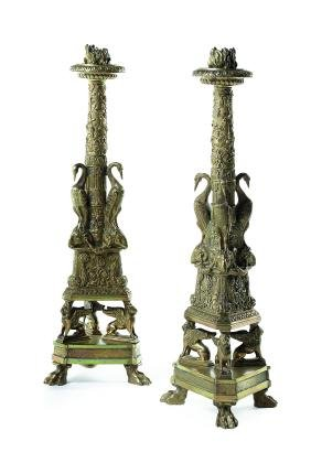 Pair late 19thc. Empire style gilt bronze candlesticks