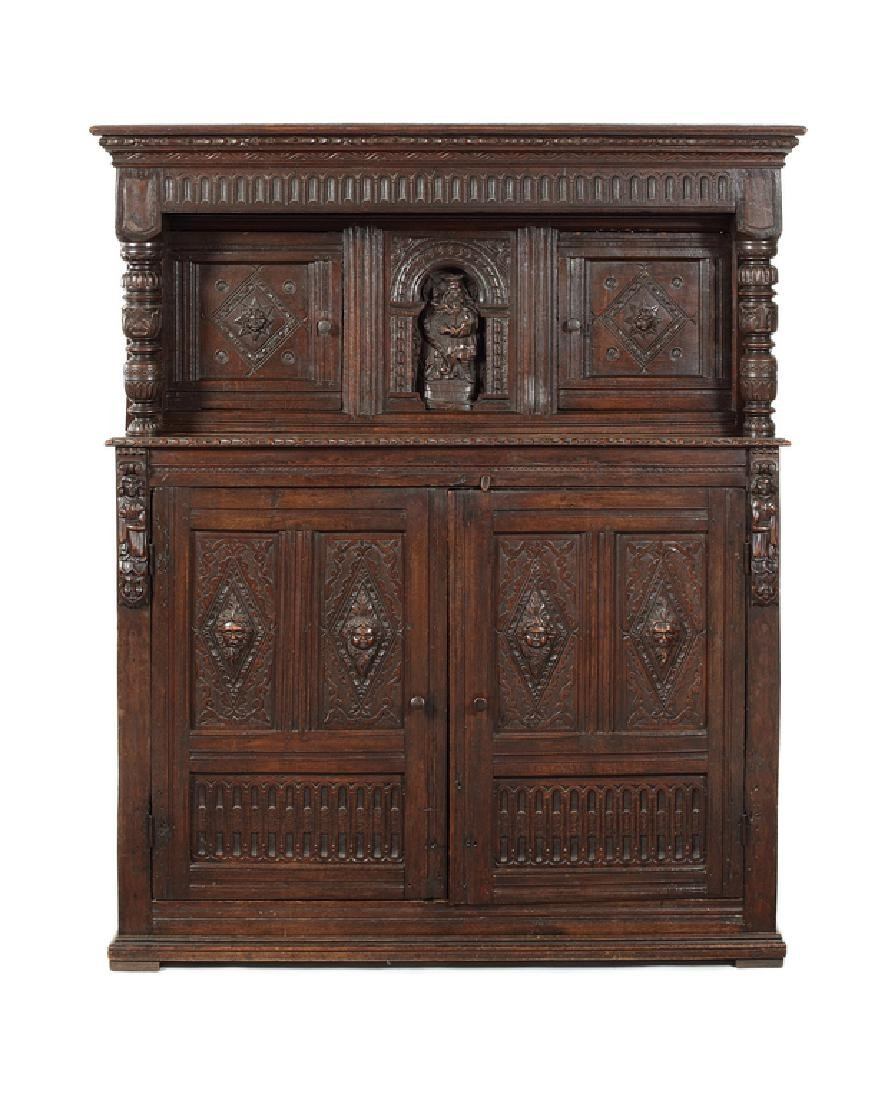 A James I oak press cupboard