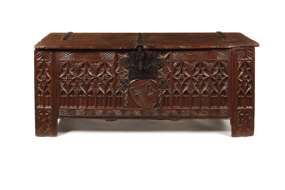 A large Westphalian Gothic oak chest, mid 16th century