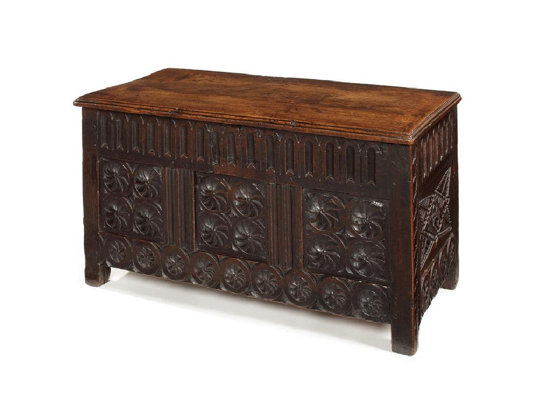 A small James I oak chest, probably West Country